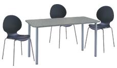 3 x AUBIN noir / 1 x GLENAN gris : ensemble de mobiliers en location