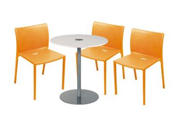 Location chaises et table ensemble 3 x turballe orange - Location mobilier salon professionnel ...
