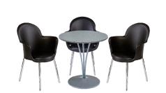 3 x BREST noir / 1 x AGOT gris : ensemble de mobiliers en location