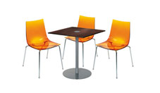 3 x TINA orange / 1 x EVEN wengé : ensemble de mobiliers en location