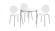 3 x AUBIN blanc / 1 x BREHAT blanc : ensemble de mobiliers en location