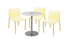3 x TURBALLE jaune pâle / 1 x BELLE ILE blanc : ensemble de mobiliers en location