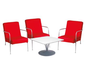 Ensemble de mobiliers en location : 3 x CLISSON rouge / 1 x MALVILLE blanc