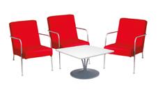 3 x CLISSON rouge / 1 x MALVILLE blanc : ensemble de mobiliers en location