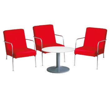 Ensemble de mobiliers en location : 3 x CLISSON rouge / 1 x NOIRMOUTIER blanc