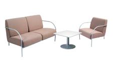 1 x banquette et 1 x chauffeuse PONTHIEU cappuccino / 1 x HOEDIC blanc : ensemble de mobiliers en location