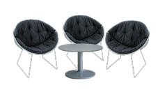 3 x LUNA noir / 1 x NOIRMOUTIER gris : ensemble de mobiliers en location