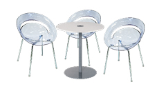 3 x SLIM cristal / 1 x BELLE ILE blanc : ensemble de mobiliers en location
