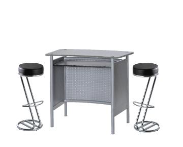 Location comptoir et tabourets bar ensemble 1 x malo gris - Location mobilier salon professionnel ...