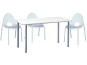 3 x DIVONNE blanc / 1 x GLENAN blanc : ensemble de mobiliers en location
