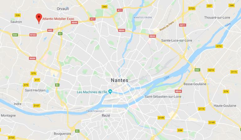 Plan d'accès pour se rendre à Atlantic Mobilier Expo à Nantes